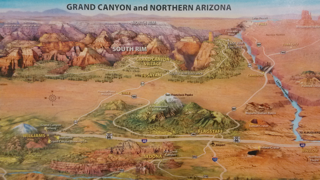 Map Of Arizona And Grand Canyon.Grand Canyon Map Location Transportation Advantage