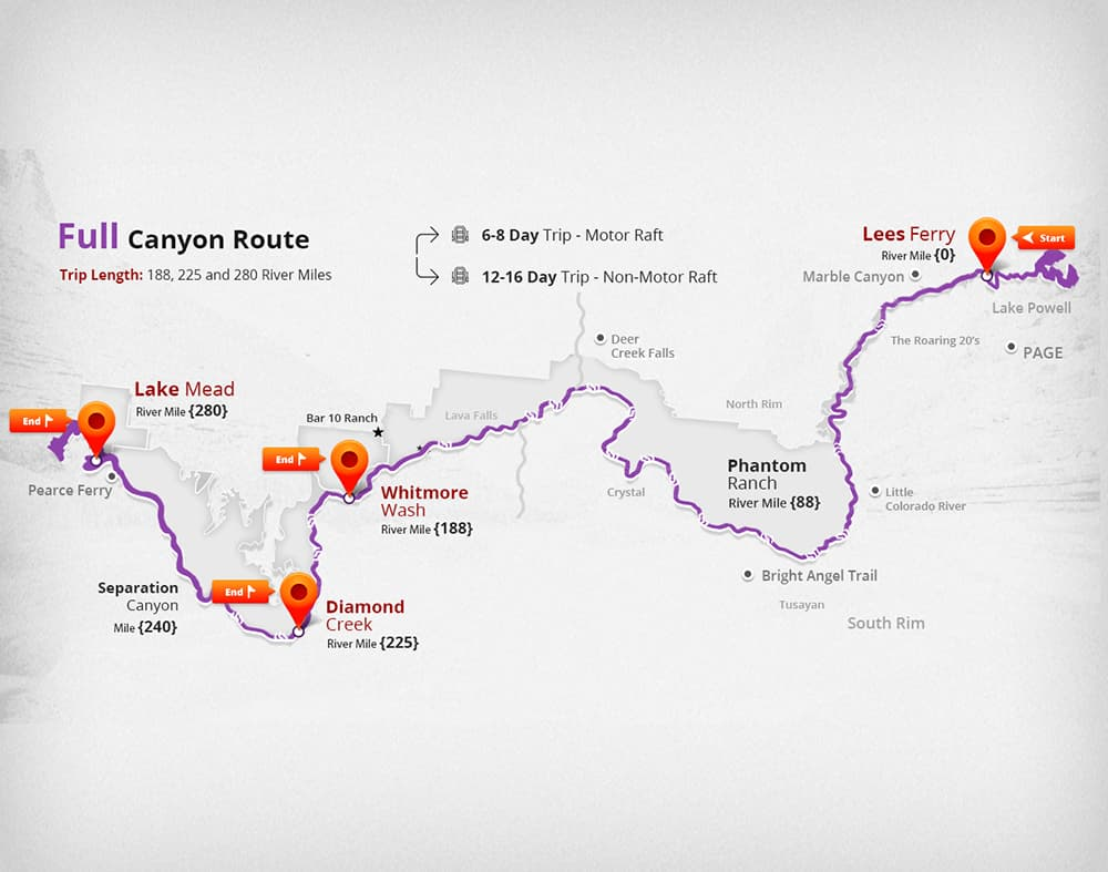 This is a map of the Full Grand Canyon route, and this trip exits at river mile 225 Diamond Creed of the Colorado river in Grand Canyon