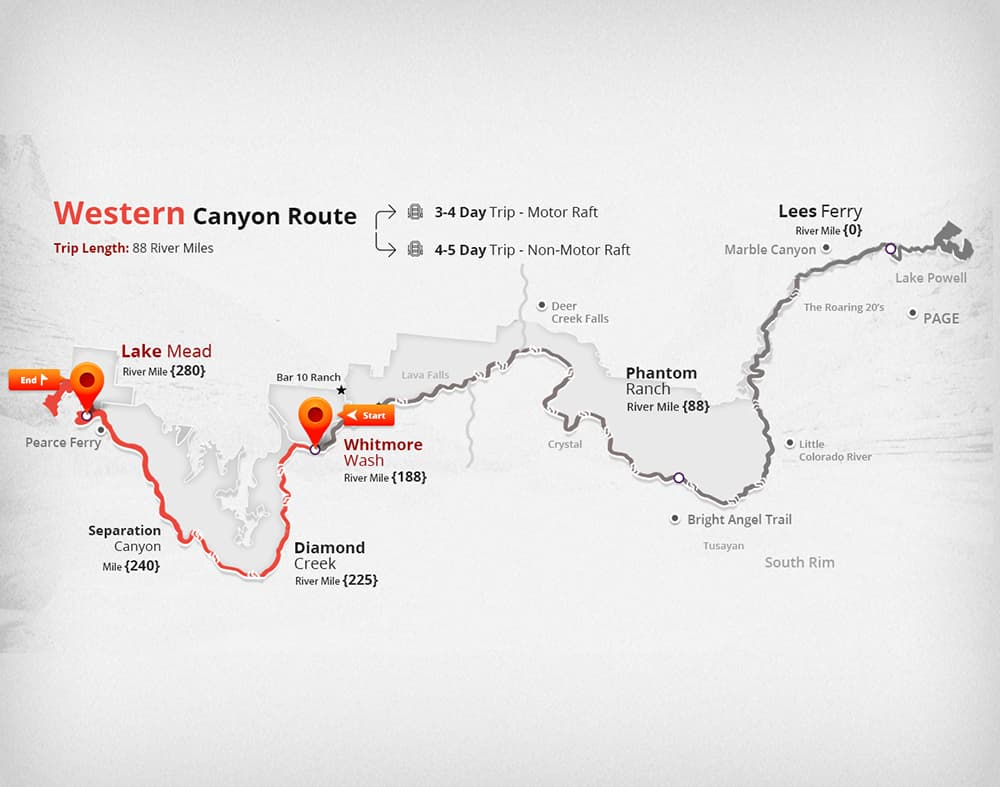 This map shows the Western canyon rafting route in Grand Canyon, 100 river miles to Lake Mead