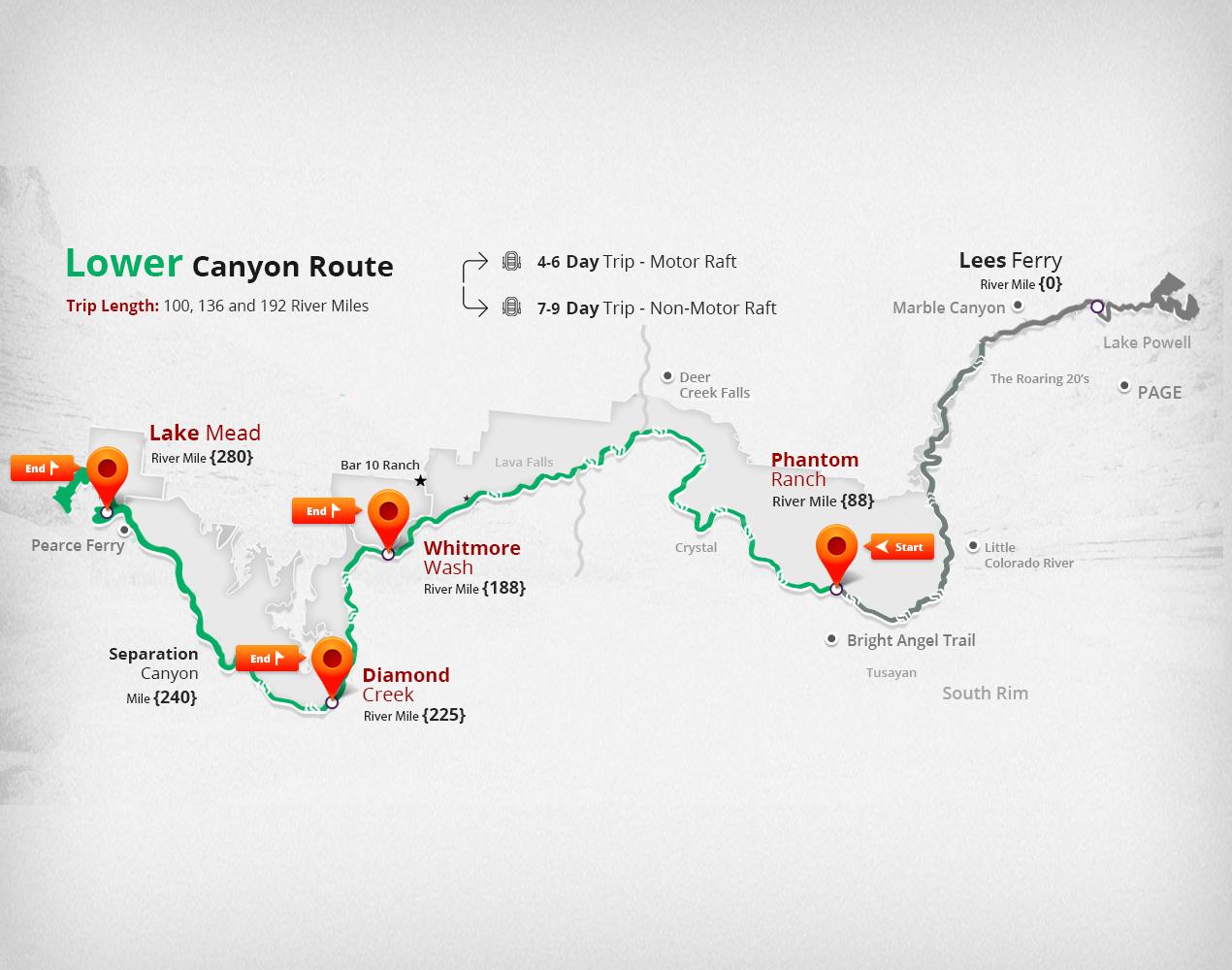 Lower Grand Canyon Map